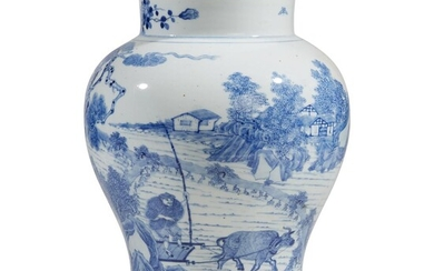 A Chinese blue and white porcelain baluster jar Late...