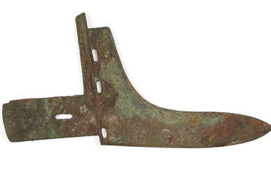 A Chinese bronze halberd blade, Han dynasty, sparsely covered with...