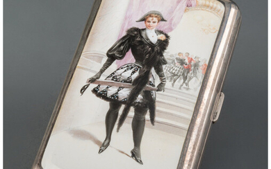 A French Partial Gilt Silver and Enamel Erotic Cigarette Case (circa 1900)