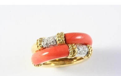 A GOLD, CORAL AND DIAMOND RING BY KUTCHINSKY the gold double...