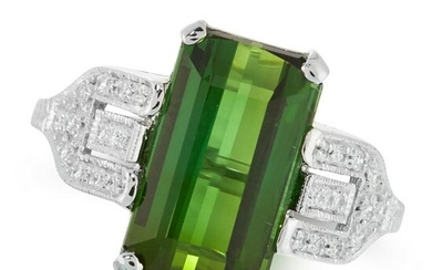 A GREEN TOURMALINE AND DIAMOND DRESS RING in 18ct white