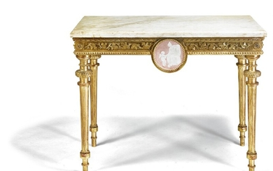 A Gustavian giltwood console with profiled white marble top. Sweden, late 18th century. H. 77 cm. W. 98 cm. D. 55 cm.