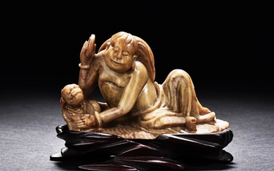 A JADE CARVED LIU HAI AND GOLDEN TOAD