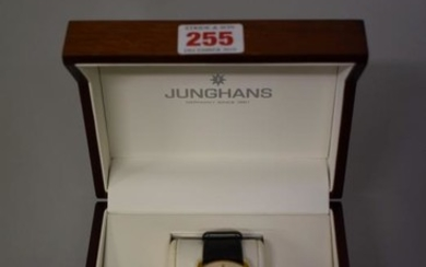 A Junghans 'Meister Kalendar' gold plated stainless steel automatic...