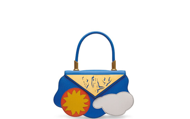 A LIMITED EDITION BLEU FRANCE COURCHEVEL LEATHER SUN & CLOUD MINI BAG WITH GOLD HARDWARE, HERMÈS, 1994