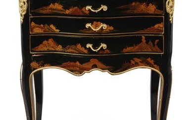A LOUIS XV STYLE GILT BRONZE-MOUNTED BLACK LACQUER TABLE EN CHIFFONNIERE, MID-19TH CENTURY