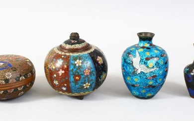 A MIXED LOT OF FOUR JAPANESE MEIJI PERIOD CLOISONNE