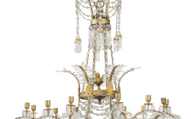 A NORTH EUROPEAN ORMOLU, BRASS AND CUT-GLASS TWELVE-LIGHT CHANDELIER, 19TH CENTURY, POSSIBLY BALTIC