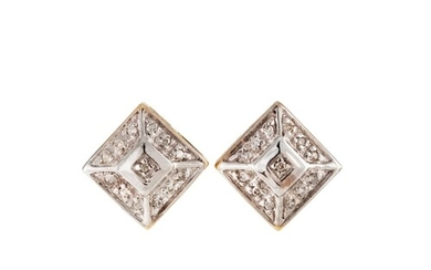 A PAIR OF DIAMOND CLUSTER EARRINGS, of square form, mounted ...