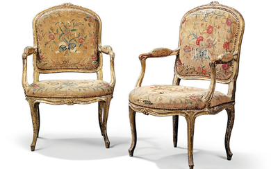 A PAIR OF LATE LOUIS XV GILTWOOD FAUTEUILS A LA REINE, CIRCA 1770-80, PROBABLY FOR THE ENGLISH MARKET, UPHOLSTERED IN ENGLAND BY J. REYNOLDS, 1782