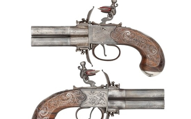 A PAIR OF SILVER-MOUNTED FLINTLOCK TURN-OVER PISTOLS SIGNED BOURNE AND HAWKINS