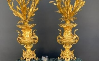 A PALATIAL PAIR OF DORE BRONZE AND MARBLE CANDELABRA