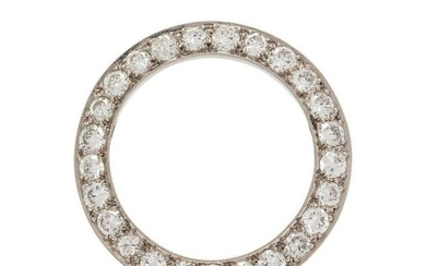 A Platinum and Diamond Circle Brooch, Maurice Tishman,