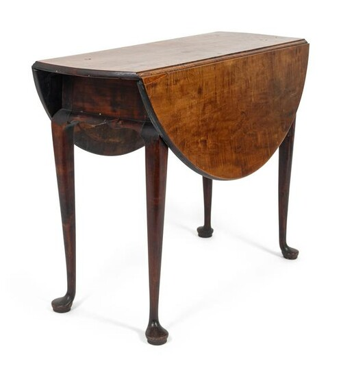 A Queen Anne Maple Drop-Leaf Table Height 27 x width 42