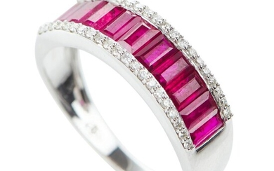 A RUBY AND DIAMOND BAND IN 18CT WHITE GOLD, FEATURING BAGUETE CUT RUBIES TOTALLING 1.77CTS AND ROUND BRILLIANT CUT DIAMONDS TOTALLIN...