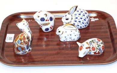 A Royal Crown Derby Imari palette Field Mouse paperweight; with...