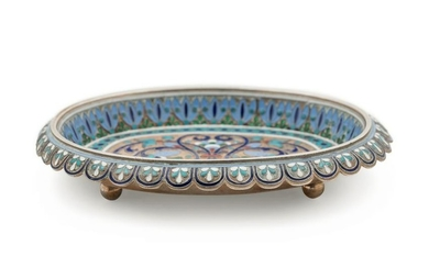 A Russian Silver-Gilt and Enameled Card Tray