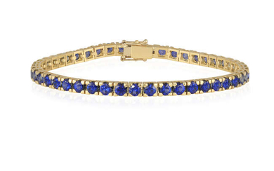 A SAPPHIRE LINE BRACELET Composed of a continuous...