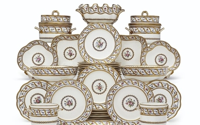 A SEVRES PORCELAIN PART DESSERT SERVICE, CIRCA 1780, BLUE INTERLACED L'S ENCLOSING DATE LETTER CC TO ALMOST ALL PIECES, VARIOUS PAINTER'S AND GILDER'S MARKS