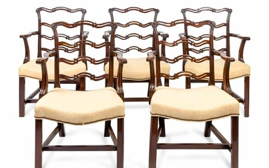 A Set of Five George III Style Mahogany Dining Chairs