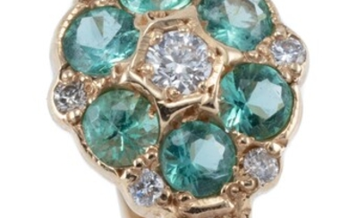 A VINTAGE EMERALD AND DIAMOND CLUSTER RING; featuring a cluster of round brilliant cut diamonds and round cut emeralds to shoulders...