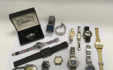 A collection of use pre worn watches comprising a Casio illu...