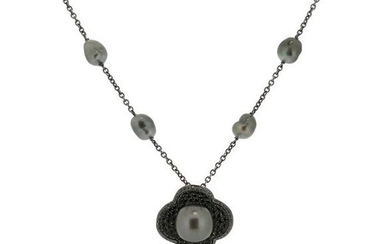 A cultured pearl and black diamond necklace, the...