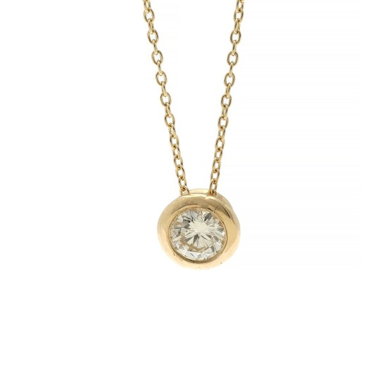 A diamond pendant set with a brilliant-cut diamond weighing app. 0.30 ct., mounted in 14k gold. Accompanied by necklace of 14k gold. L. app. 43 cm. (2)