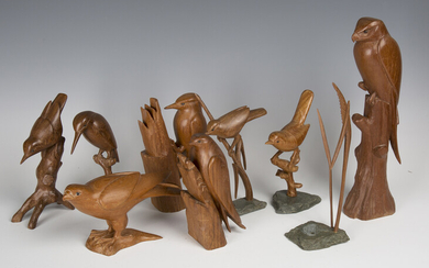 A group of eight mid/late 20th century carved wooden models of birds, each finely modelled specimen