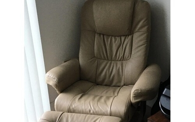A modern design leather recycling chair with a matching stoo...