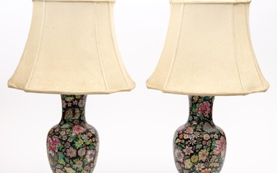 A pair of Chinese polychrome ceramic lamps, total …