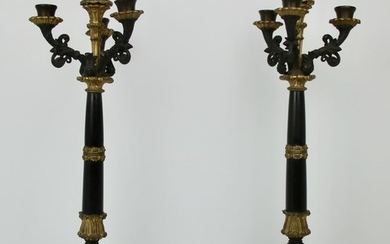 A pair of Empire high 3-armed candlesticks France 19th century - Empire Style - Bronze - 1875-1899