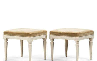 A pair of Gustavian stools by Johan Lindgren (master in Stockholm 1770-1800).