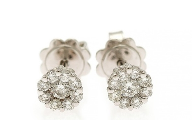 A pair of diamond ear studs each set with nine brilliant-cut diamonds totalling app. 0.49 ct., mounted in 18k white gold. Diam. app. 6 mm. (2)