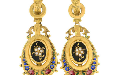 A pair of late 19th century 18ct gold floral split pearl and enamel earrings.