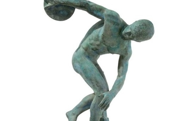 A patinated bronze sculpture of Mirone's discus Thrower