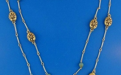 ADORABLE 10k Yellow Gold and Silver Necklace with