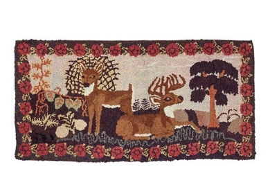 AMERICAN PICTORIAL HOOKED RUG, LATE 19TH OR EARLY 20TH CENTURY