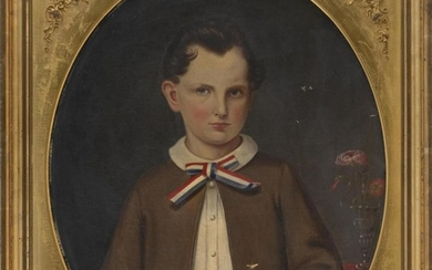 """AMERICAN SCHOOL, Mid-19th Century, Portrait of Carrie E. Cousins., Oil on canvas, oval, 26"""" x 20.75"""". Framed 31.5"""" x 26.5""""."""