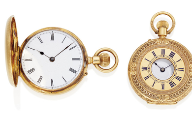 AN 18K GOLD KEYLESS HALF HUNTER POCKET WATCH, J. W. BENSON, LONDON