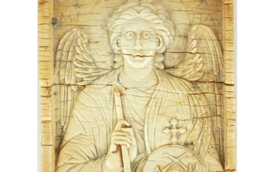 AN 18TH/19TH CENTURY CARVED BONE PLAQUE, ARCH ANGEL MICHEAL....