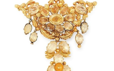 AN ANTIQUE CITRINE BROOCH in high carat yellow gold