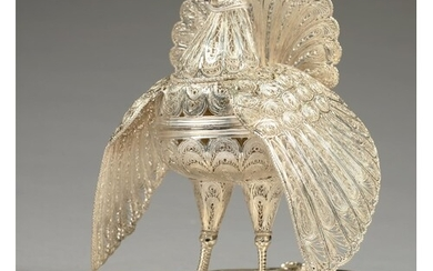 AN INDIAN SILVER FILIGREE SWEETMEAT BOX IN THE FORM OF A PEA...