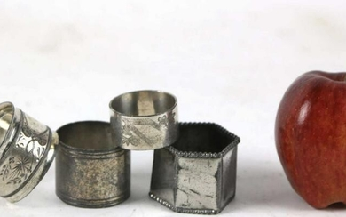 ANTIQUE STERLING & SILVER NAPKIN RINGS