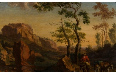 ATTRIBUTED TO WILLEM DE HEUSCH (DUTCH 1625 - 1692) ITALIANATE LANDSCAPE