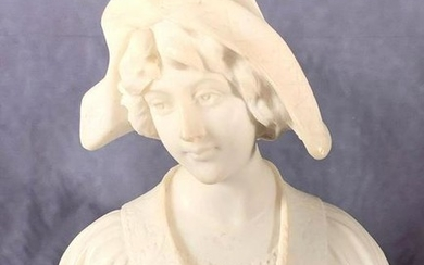 Alabaster Bust of Young Woman with Hat, early 20thc. with serene face looking slightly to right, with flower adorned dress, raised on conforming green marble base. 11 in. h x. 9 in. w. 4.5 in, d. Condition: Good with some surface scuffs
