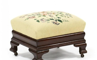 American Classical Needlepoint Footstool