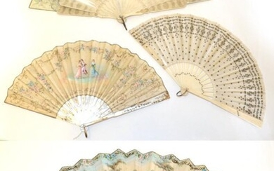 An Early 20th Century Mother-of-Pearl Fan, the pearl white, and...