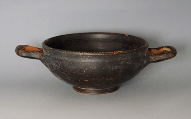 Ancient Greek Terracotta Attic Stemless Kylix - 128mm handle to handle