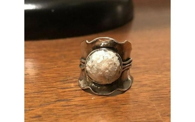 Ancient Roman Glass Modernist Sterling Silver Ring